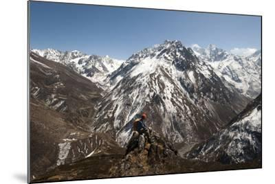 A Trekker Looks Out at the View of Ganesh Himal Mountains in Nepal-Alex Treadway-Mounted Photographic Print