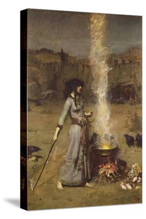 The Magic Circle-John William Waterhouse-Stretched Canvas Print