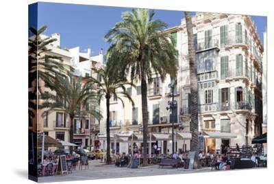 Restaurants and Street Cafes at Der Placa De La Llotja-Markus Lange-Stretched Canvas Print
