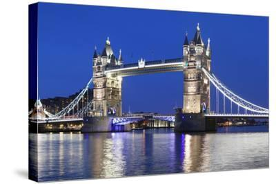River Thames and Tower Bridge at Night, London, England, United Kingdom, Europe-Markus Lange-Stretched Canvas Print