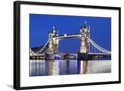 River Thames and Tower Bridge at Night, London, England, United Kingdom, Europe-Markus Lange-Framed Photographic Print