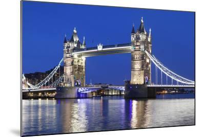 River Thames and Tower Bridge at Night, London, England, United Kingdom, Europe-Markus Lange-Mounted Photographic Print