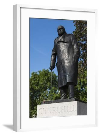 Statue of Sir Winston Churchill, Parliament Square, London, England, United Kingdom, Europe-James Emmerson-Framed Photographic Print