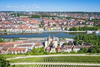View over Wurzburg from Fortress Marienberg, Franconia, Bavaria, Germany, Europe-Michael Runkel-Framed Photographic Print