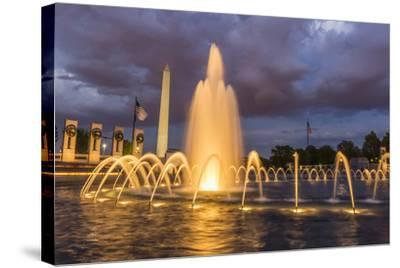 The Washington Monument Lit Up at Night as Seen from the World War Ii Monument-Michael Nolan-Stretched Canvas Print