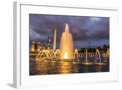 The Washington Monument Lit Up at Night as Seen from the World War Ii Monument-Michael Nolan-Framed Photographic Print