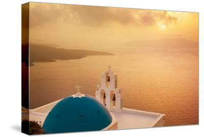 Blue Dome and Bell Tower at Sunset-Neale Clark-Stretched Canvas Print