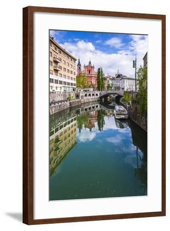 Ljubljana Triple Bridge and Franciscan Church of the Annunciation Reflected in Ljubljanica River-Matthew Williams-Ellis-Framed Photographic Print