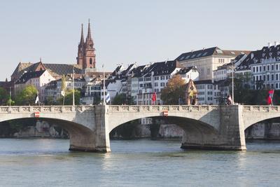 Mittlere Rheinbrucke Bridge and Cathedral-Markus Lange-Framed Photographic Print
