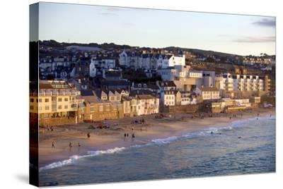 Overlooking Porthmeor Beach in St. Ives at Sunset, Cornwall, England, United Kingdom, Europe-Simon Montgomery-Stretched Canvas Print