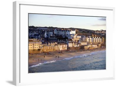 Overlooking Porthmeor Beach in St. Ives at Sunset, Cornwall, England, United Kingdom, Europe-Simon Montgomery-Framed Photographic Print