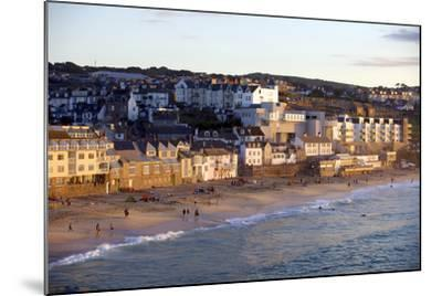 Overlooking Porthmeor Beach in St. Ives at Sunset, Cornwall, England, United Kingdom, Europe-Simon Montgomery-Mounted Photographic Print