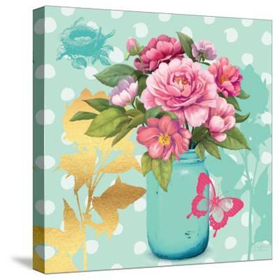 Mint Mason Jar Bouquet--Stretched Canvas Print