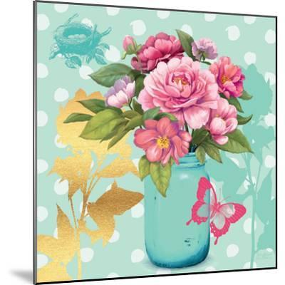 Mint Mason Jar Bouquet--Mounted Premium Giclee Print
