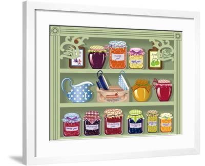Shelf with Home-Made Preserved Jam-Milovelen-Framed Art Print