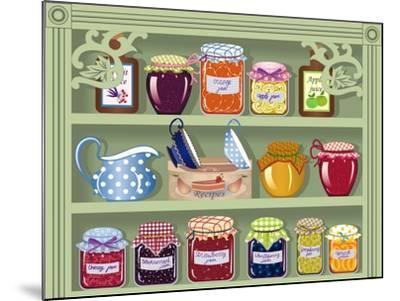 Shelf with Home-Made Preserved Jam-Milovelen-Mounted Art Print