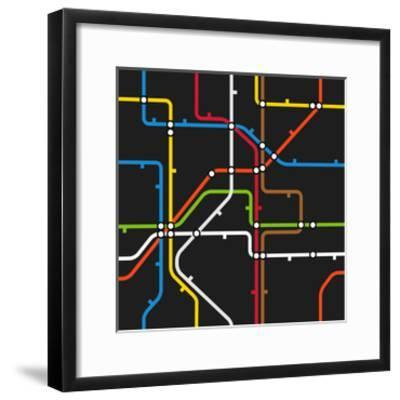 Seamless Background of Abstract Metro Scheme-tovovan-Framed Art Print