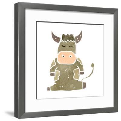 Retro Cartoon Cow-lineartestpilot-Framed Art Print
