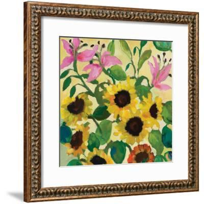 Sunflowers and Pink Lilies-Kim Parker-Framed Giclee Print