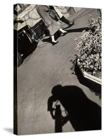 The Shadow of a Photographer on a Street in Rome-Luigi Leoni-Stretched Canvas Print