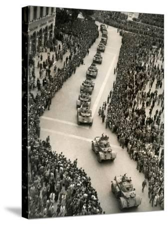 Parade of Italian Military Units in the Piazza Venezia, Rome-Luigi Leoni-Stretched Canvas Print