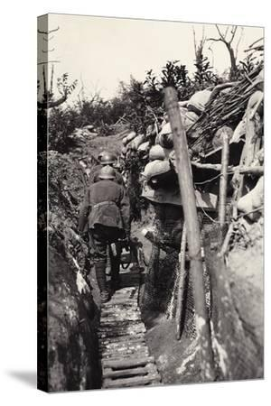 Italian Soldiers in a Trench of Podgora During World War I-Ugo Ojetti-Stretched Canvas Print