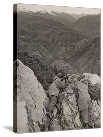 Partisans Posted on the Spur of a Rock During the Second World War-Luigi Leoni-Stretched Canvas Print