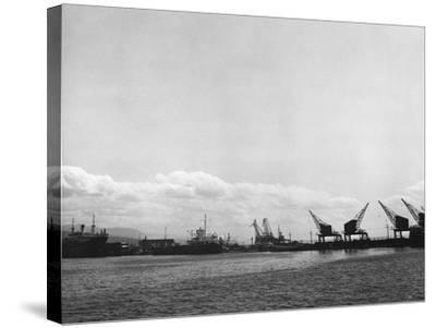 Crane on the Port of Rijeka (River)-Dusan Stanimirovitch-Stretched Canvas Print