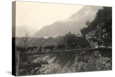 Italian Soldiers Traverse a Bridge over the Isonzo River, on the Outskirts of Caporetto-Ugo Ojetti-Stretched Canvas Print