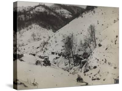 Military Barracks in the Valley Doblar During the First World War-Luigi Verdi-Stretched Canvas Print