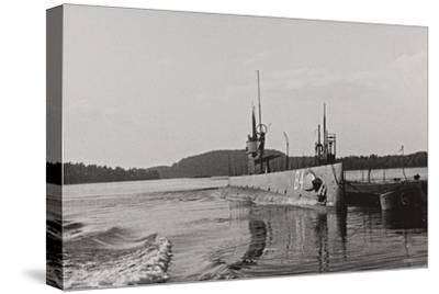 First World War: Naval Vessel Along the Dock of Ostend--Stretched Canvas Print