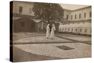 Pictures of War II: Red Cross Nurses in the Courtyard of the Orphanage, Vicenza--Stretched Canvas Print