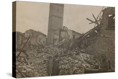 World War I: The Historical Center of Mariano Comense Destroyed by Bombing--Stretched Canvas Print
