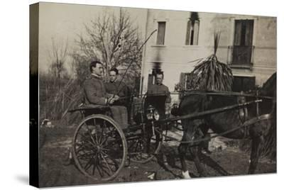 War Campaign 1917-1920: Soldiers Aboard a Horse-Drawn Carriage to Cavrie--Stretched Canvas Print