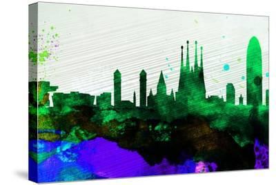 Barcelona City Skyline-NaxArt-Stretched Canvas Print