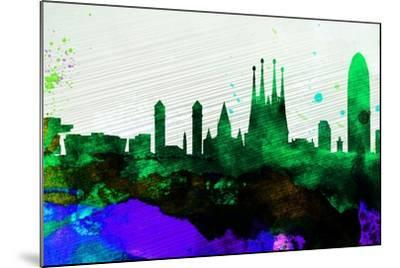 Barcelona City Skyline-NaxArt-Mounted Art Print