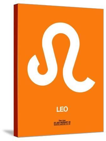 Leo Zodiac Sign White on Orange-NaxArt-Stretched Canvas Print