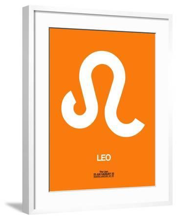 Leo Zodiac Sign White on Orange-NaxArt-Framed Art Print