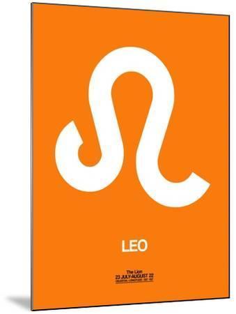 Leo Zodiac Sign White on Orange-NaxArt-Mounted Art Print