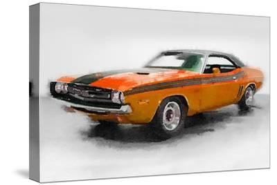 1968 Dodge Challenger Watercolor-NaxArt-Stretched Canvas Print