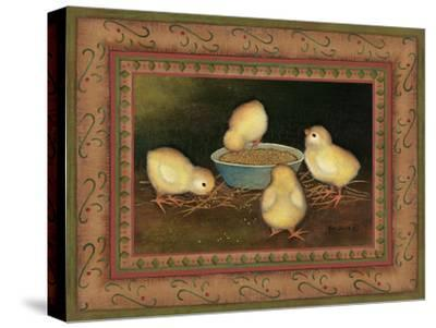 Chicks with Seed-Kim Lewis-Stretched Canvas Print