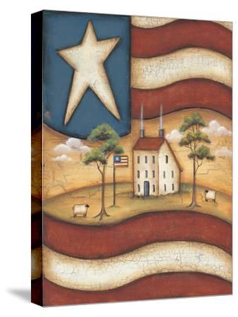 Folk Flag-Kim Lewis-Stretched Canvas Print