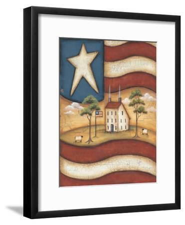 Folk Flag-Kim Lewis-Framed Art Print