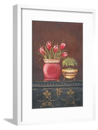 Asiain Red Crocus Floral-Jo Moulton-Framed Art Print