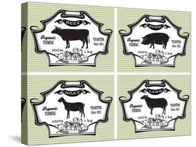Icons Pig, Cow, Sheep, Goat-111chemodan111-Stretched Canvas Print