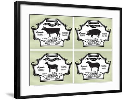 Icons Pig, Cow, Sheep, Goat-111chemodan111-Framed Art Print