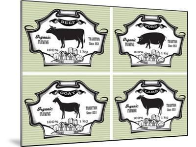Icons Pig, Cow, Sheep, Goat-111chemodan111-Mounted Art Print