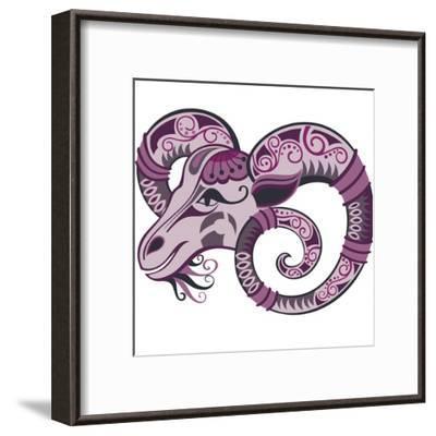 Goat Christmas, New Year Card-worksart-Framed Art Print