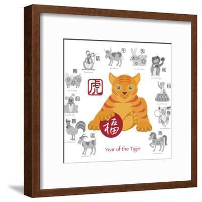 Chinese New Year Tiger Color with Twelve Zodiacs Illustration-jpldesigns-Framed Art Print