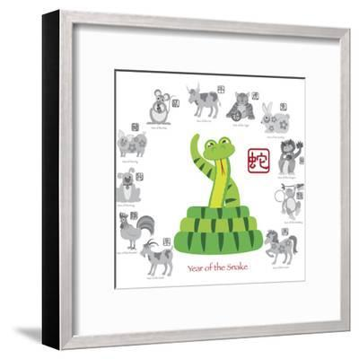 Chinese New Year Snake Color with Twelve Zodiacs Illustration-jpldesigns-Framed Art Print